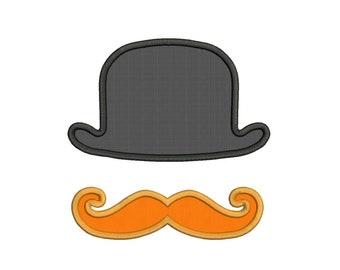Applique Bowler Hat Moustache Mustache Machine Embroidery Design - 5 Sizes