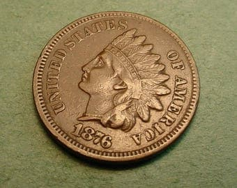 1876 Indian Head Cent  Extra Fine Semi-Key Date  / Insurance included in SH  <>ET5375