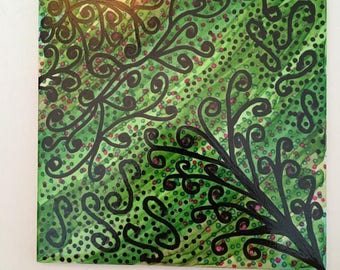 Alcohol Ink Tile - Tree Doodle