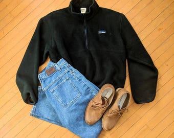 Vintage L.L.Bean Dark Forest Green Pullover Fleece, Medium
