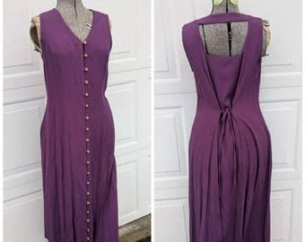 90's Vintage Open-Back Full Length Dress || 90's Purple Button-Up Maxi Dress, Medium