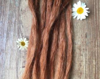 Copper human hair dreadlock extension