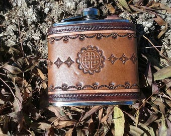 Tooled leather stainless steel flask
