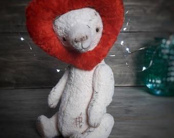 Teddy Bear, artist teddy bear, vintage plush, rose, stuffed jointed bear, collectible toy