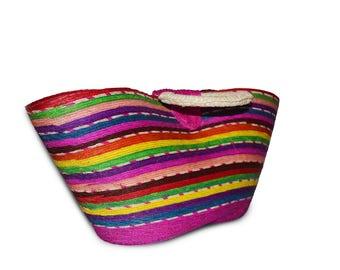 Multicolor beach handbag