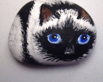 persian cat hand-painted stone