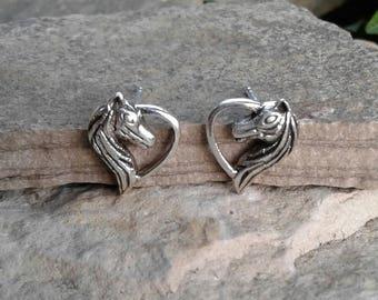 Horse Earrings, Solid Sterling Silver Horse Heart Stud Earrings, Horse Jewelry