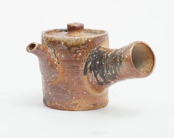 Handmade teapot, kyusu, sencha and gyokuro ceramic teapot, woodfired pottery