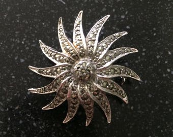 Vintage marcasite floral star brooch 1960s