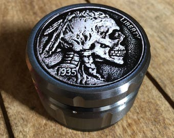indian head nickel skull 4 part 55 mm deluxe custom herb tobacco grinder 3d textured image tattoo style. Native american coin. Spice grinder