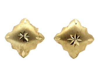 14K Yellow Gold Diamond Cut Stamped Stud Earrings
