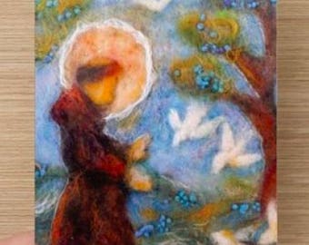 St Francis of Assisi, 2 piece art card, st francis,saint francis of assisi, catholic greeting card, religious card, wool painting, pet lover
