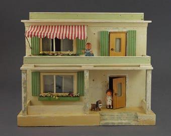 Vintage Rare German Wooden Dollhouse Roof Terrace Veranda Porch Miniature Curtain Glass Windows Old Original Collector Toy Moritz Gottschalk