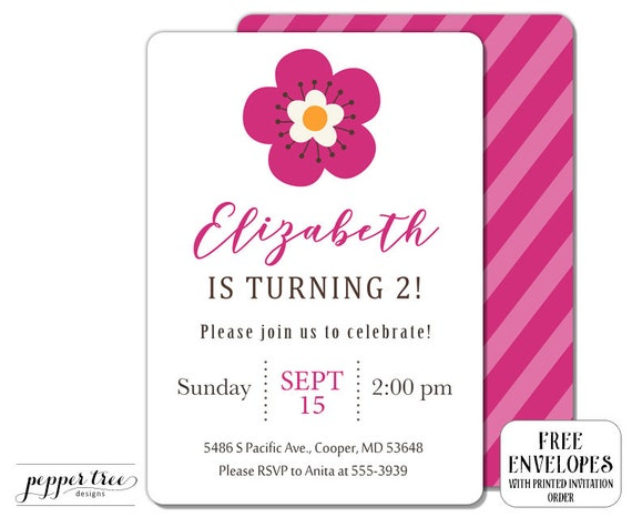 Flower invitation for girl birthday simple girly invitation girl il570xn stopboris Gallery