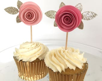 Blush Pink and Gold glitter flower cupcake toppers