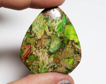 Sea Sediment (Imperial) Jasper With Pyrite Gemstone Pendant