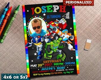 Rescue Bots Invitation, Rescue Bots Invite, Rescue Bots Birthday, Rescue Bots Party, Transformers Invite Printables, Robot Card Invitations