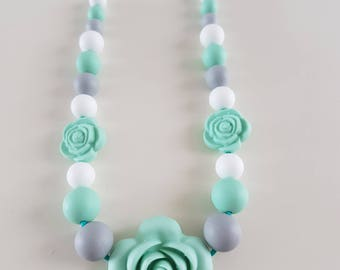 Teething necklace / breastfeeding silicone grey and Mint.