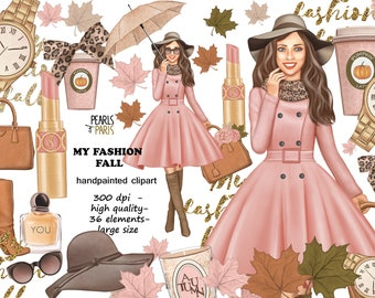 Fall clipart, autumn clipart, autumn fashion clipart, girl clipart, leaves, make up clipart,perfume, pink, blush, stickers supplies, PNG