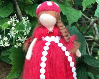 Needle felted doll, Wool Toadstool girl, wardolf inspired doll, fairy ornament, needle felted fairy display.
