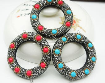3 pcs of turquoise connectors, crystal rhinestones connector, micro zircon connectors, necklaces, sweater chains, DIY jewelry accessories.