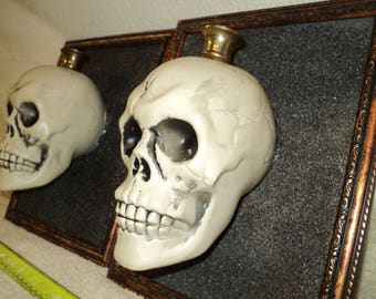 skull candle plaques - pair