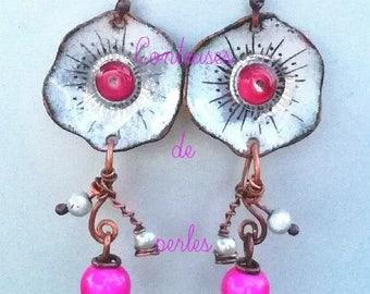 boho enameled earrings, boho enamel earrings, earrings, pair of earrings, bohemia, flower