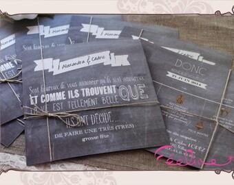 """""""Slate"""" print Retro Vintage slate wedding invitation"""