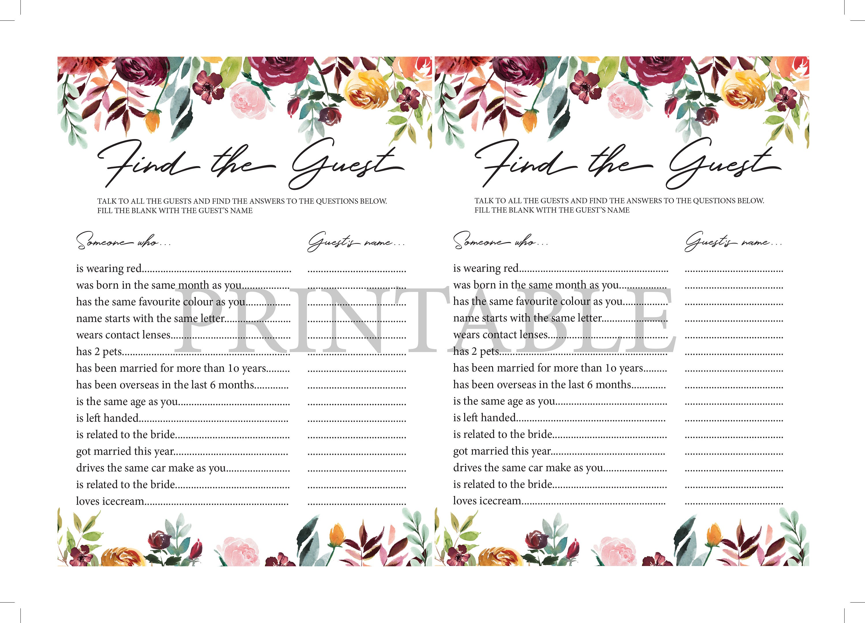 Find the Guest Game Bridal Shower Games Printable Instant