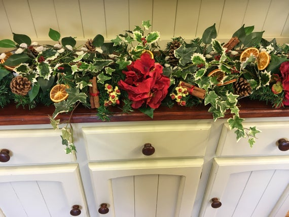 luxury christmas garland handmade artificial christmas garland traditional red christmas garland holly and flower garland