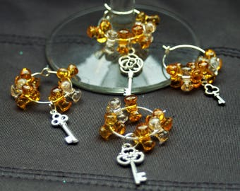 Set of 4 Amber Key Wine Glass Charms
