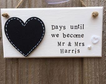 Personalised wedding countdown plaque