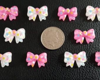 Set of 10 resin flat back bows
