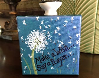"""Acrylic mini painting, 4""""x4"""" stretched canvas, dandelions on blue background, """"Make a Wish, Say a Prayer"""""""