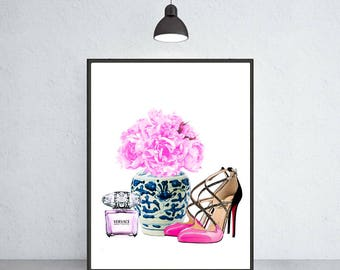 blue and white vase with peony louboutin shoes Versache art print Ming vase chinoiserie ginger jar art indigo blue porcelain Ming Dynasty