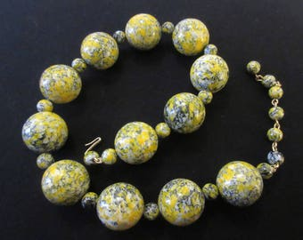 Vintage Large Round Beaded Necklace in Autumn Tones Stamped Hong Kong