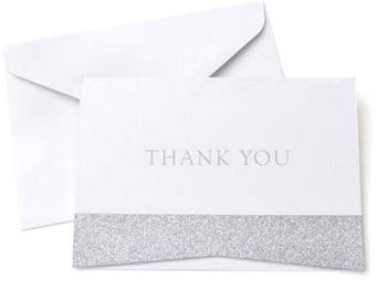 Wedding Shower thank you cards silver glitter