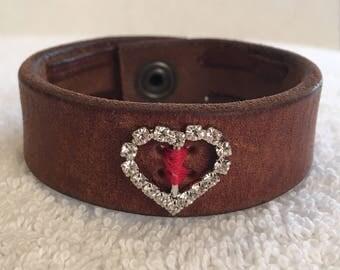 X's & O's Rhinestone Heart Cuff Bracelet