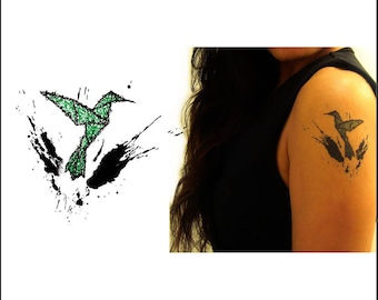 Origami Hummingbird - Temporary Tattoo - Gift Ideas - Set of 2
