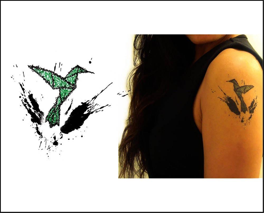 Origami Hummingbird Temporary Tattoo Gift Ideas Set of 2 - photo#1