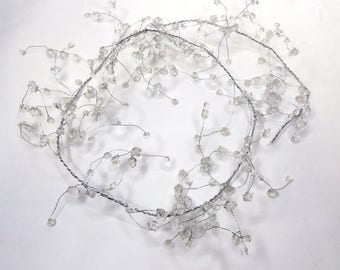 130cm Clear Beaded Garlands, Wire String, Acrylic Crystal Beaded Garland,Wedding Table Decor, Floral Craft, Floral Wire,Christmas Decorative