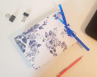 Blue Floral Handmade Notebook - A5 Landscape - Coptic Stitch