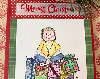 Handmade Christmas Card, Yoga Card, Blank Card, Greeting Cards, Holidays Card, Yoga Stationary, Spiritual Card, Yoga Art, Christmas Gift