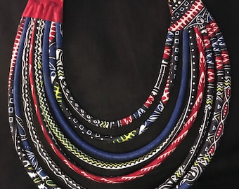 SALE 30%! Blue and red wax women necklaces. Composed of 8 strips and worn as a Choker.