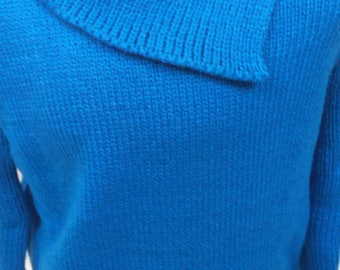 Child sweater blue wool sweater, hand knit, handmade, made in France 006