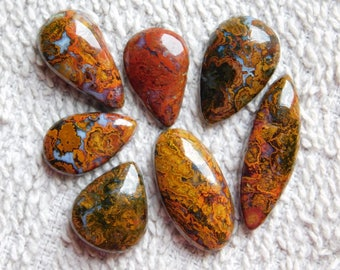 Lot ! Awesome ! Hungarian agate loose gemstone Excellent cabochons gemstone 100%natural gemstone smooth polish handmade 66.80cts, 7 Pieces