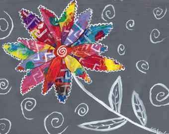 Whimsical Flower Art, Boho Flower. Original Art, Mixed Media collage Art, Bright Colors, Original Artwork