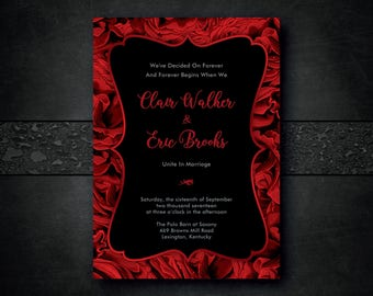Red And Black Wedding Invitation, Red Rose Wedding Invitation, Rose Wedding  Invitation, Romantic