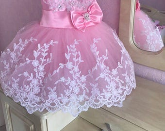 Christening GOWN party flower girl Tutu baptismal dress wedding Princess fairy 74 80 86