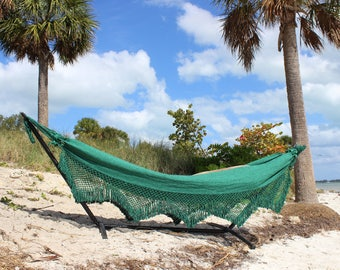 Brazilian Hammock with Fringe: Kiwi